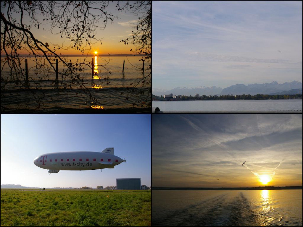 Schön, egal von welchem Land aus gesehen: Der Bodensee. Links unten einer der Zeppeline, mit denen man einen Rundflug machen kann.
