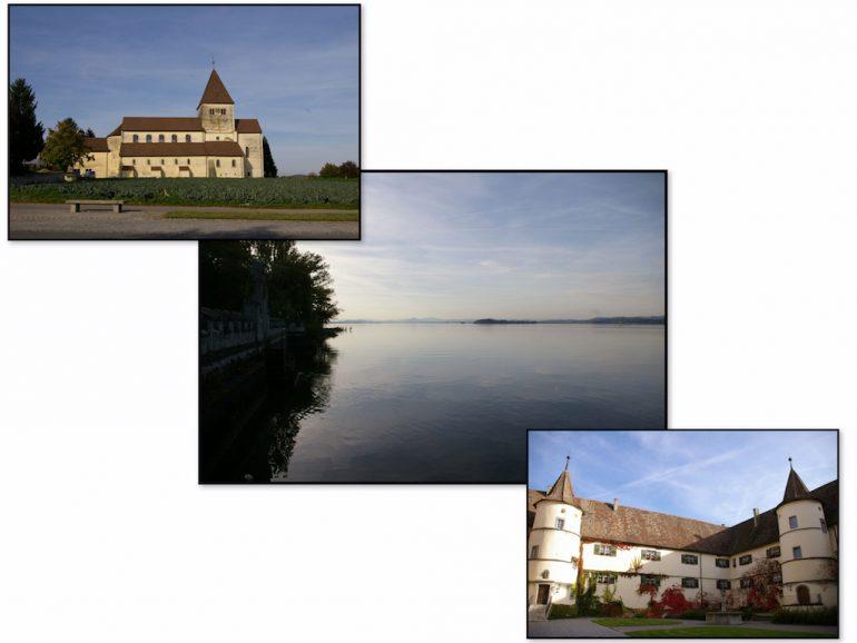 Kirche und Wasser auf der Insel Reichenau