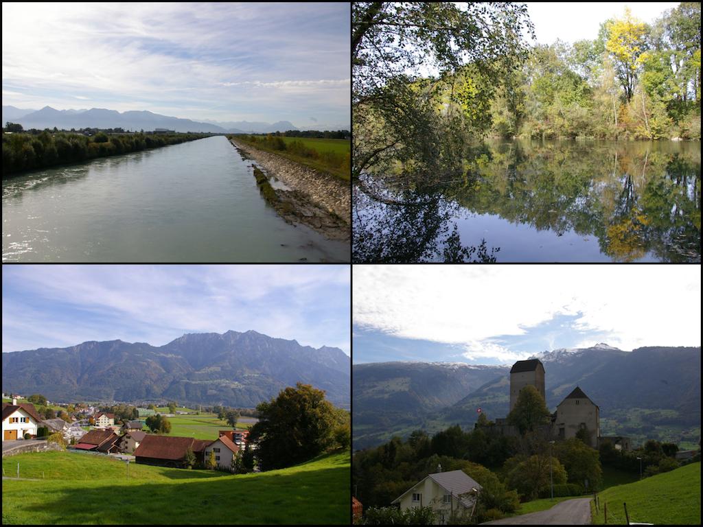 Neuer Rhein bei Bregenz, Rheinauen bei Hohenems, Liechtenstein, Schloss Sargans