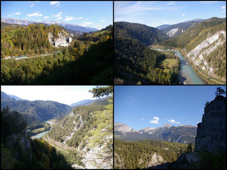 Berge und Wald an der Rheinschlucht