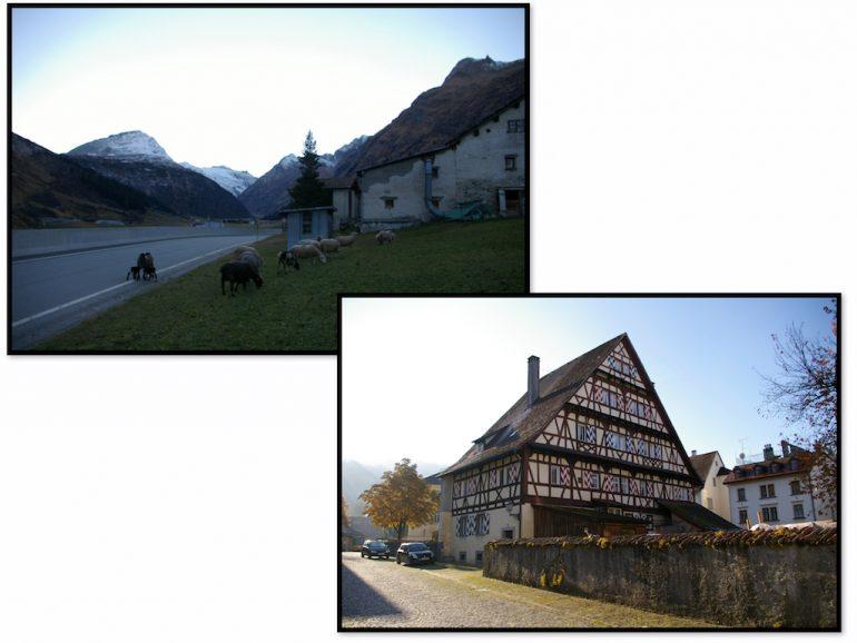 Häuser und Berge am Hinterrhein