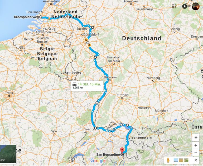 Urlaub am Rhein: Karte mit Route