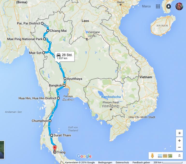 Mietwagen Thailand: Die Route quer durch Thailand