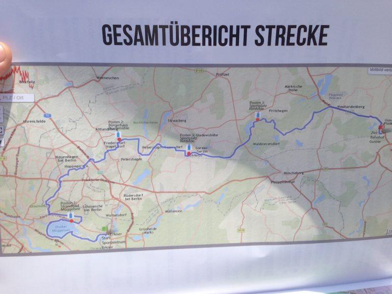 Karte mit der Strecke des Mammutmarsch 2016