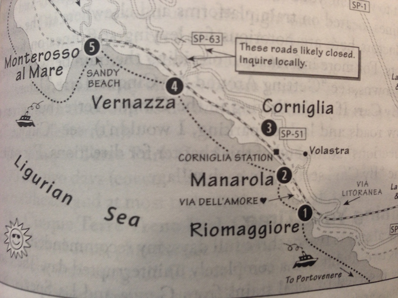 Cinque Terre Karte (Quelle - Rick Steve's Italy)
