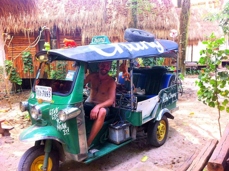 Best road trips: Marco Buch in a Tuk Tuk on the island of Ko Chang.