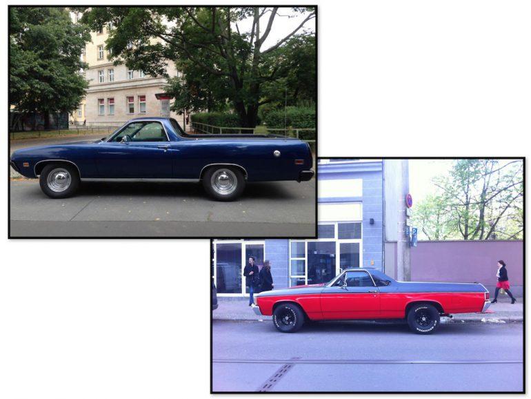 Oldtimer Berlin: Chevrolet El Camino in blau und rot
