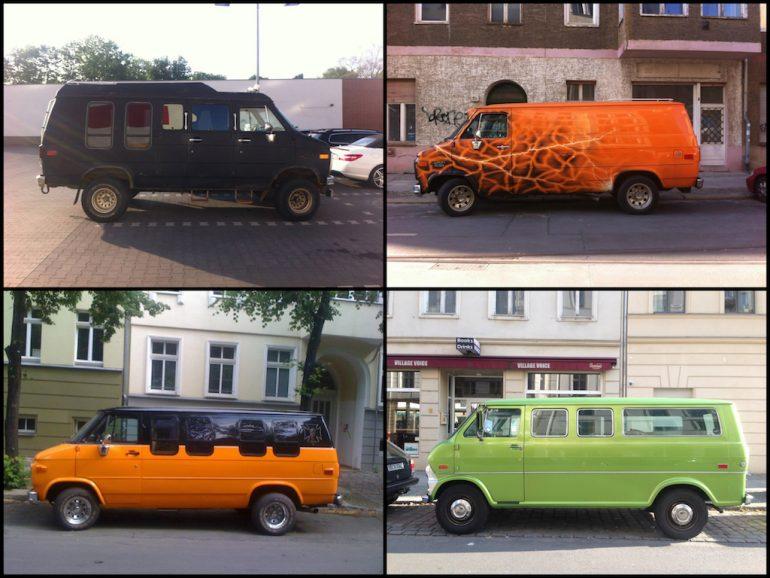 Oldtimer Berlin: Chevy Vans in unterschiedlichen Farben