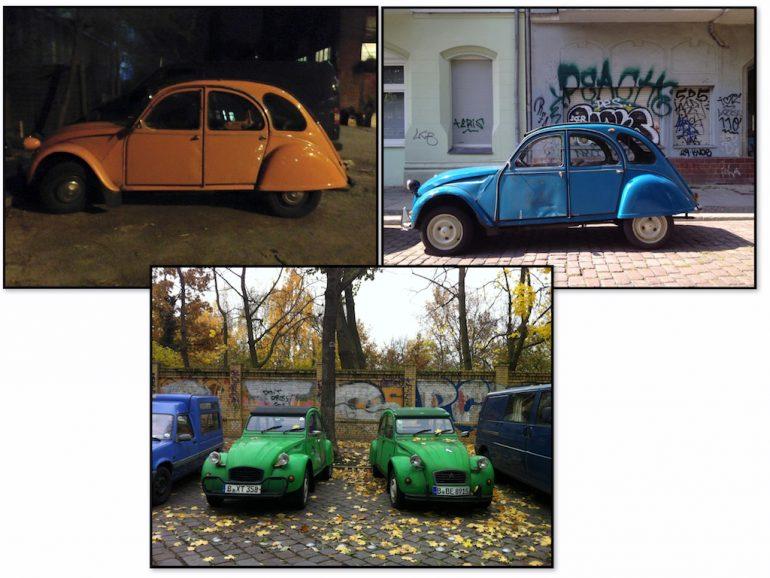 Oldtimer Berlin: Citroen 2CV in unterschiedlichen Farben