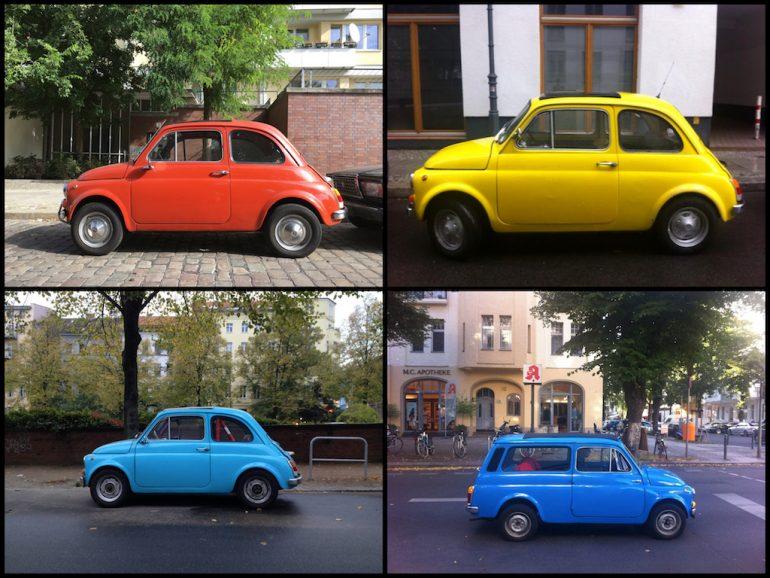 Oldtimer Berlin: Fiat 500 in unterschiedlichen Farben