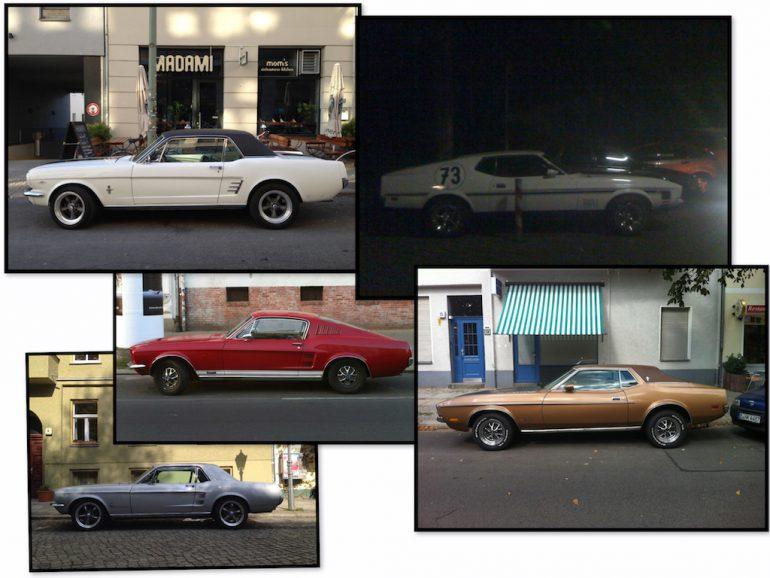 Oldtimer Berlin: Ford Mustang in unterschiedlichen Farben und Formen