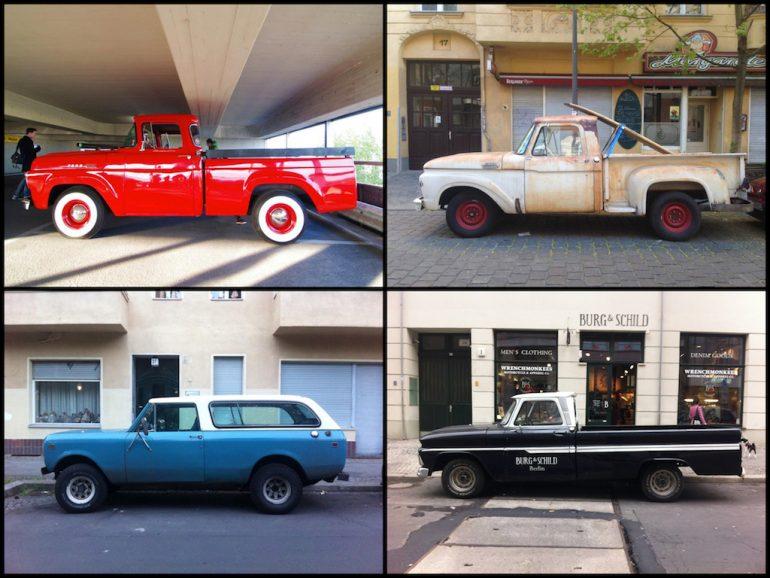 Oldtimer Berlin: Ford Pick-Up und Bronco in unterschiedlichen Farben