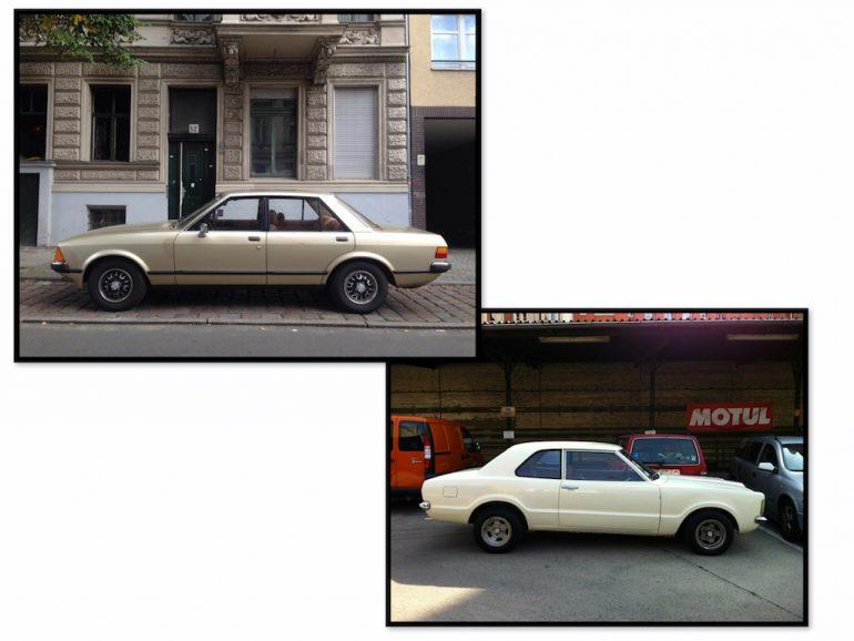 Oldtimer Berlin: Ford Taunus in verschiedenen Farben