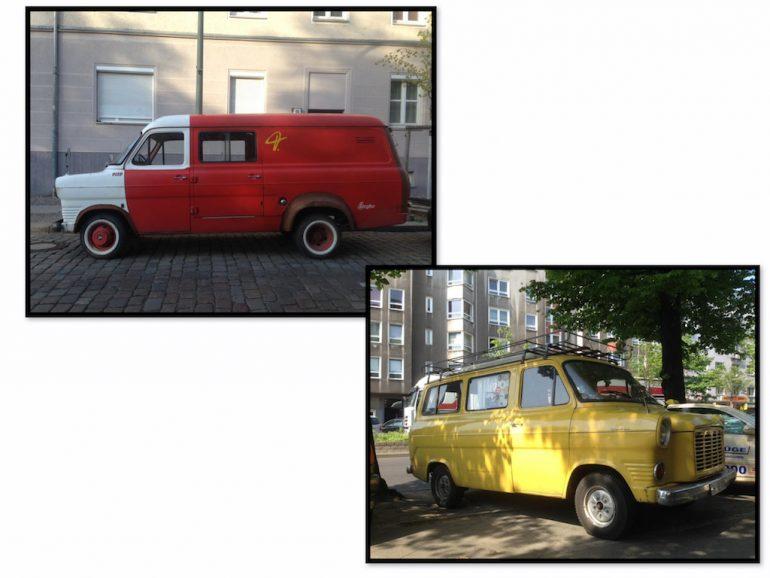 Oldtimer Berlin: Ford Transit in rot und gelb