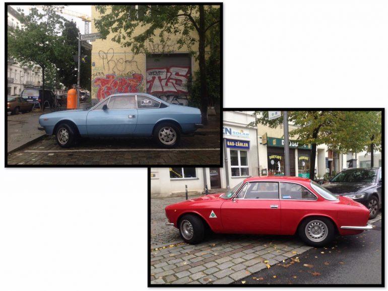Oldtimer Berlin: Lancia in blau und rot