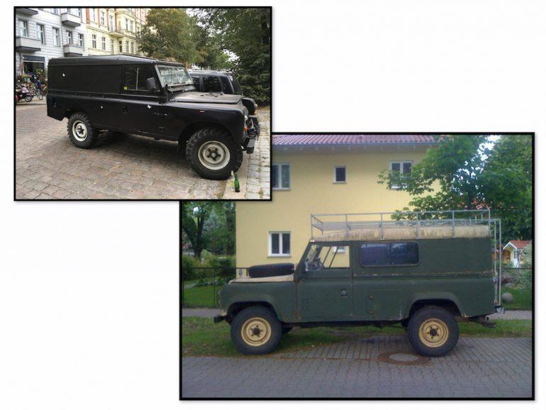 Oldtimer Berlin: Land Rover in schwarz und grün