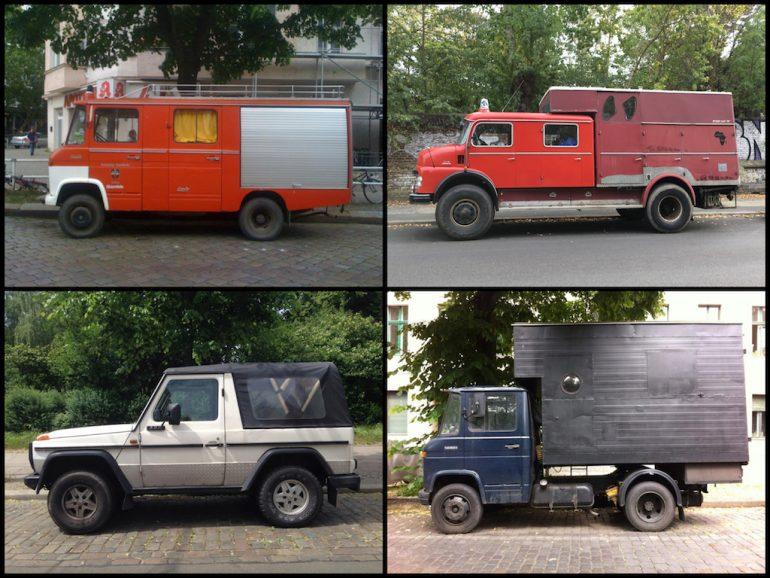 Oldtimer Berlin: Mercedes G und LKW in verschiedenen Farben