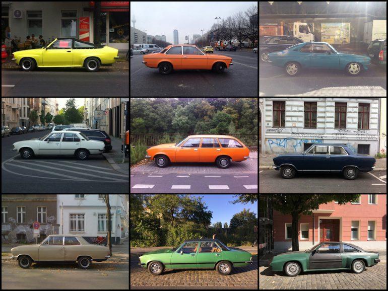 Oldtimer in Berlin: Opel-Modelle in verschiedenen Farben.