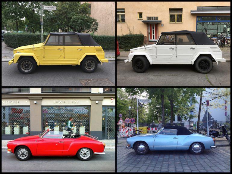 Oldtimer Berlin: VW Karmann Ghia und Kübelwagen in unterschiedlichen Farben