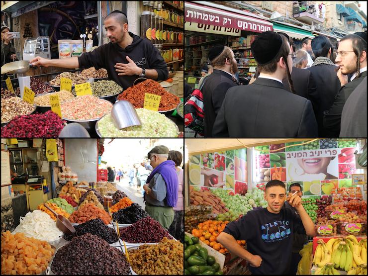Menschen auf dem Mahne Yehuda Shuk in Jerusalem