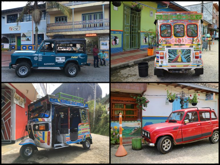 Farbenfrohe Autos in Guatape