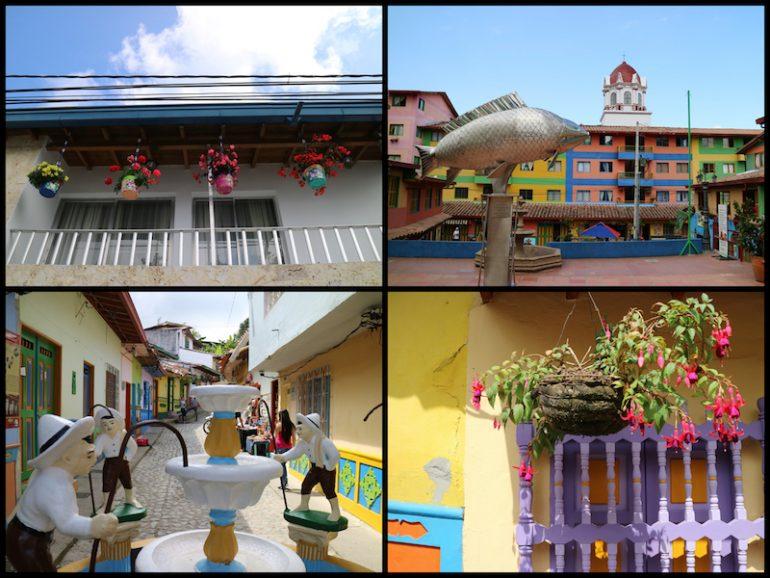 Blumen und Skulpturen in Guatape
