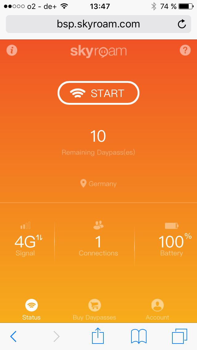 Skyroam Solis Bildschirm