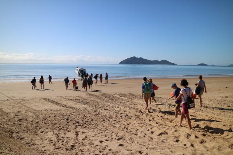 Great Barrier Reef: Gäste einer Schnorcheltour am Strand von Mission Beach