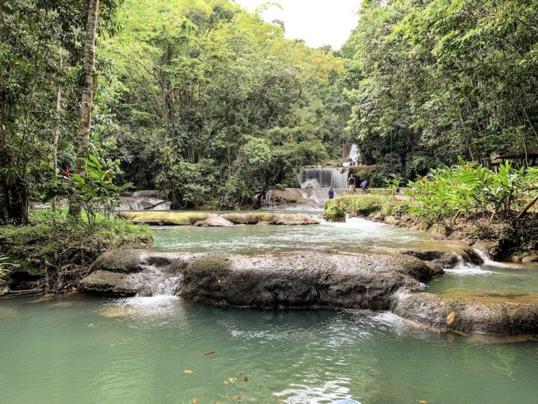 Wasser, Felsen und Bäume an den YS Falls