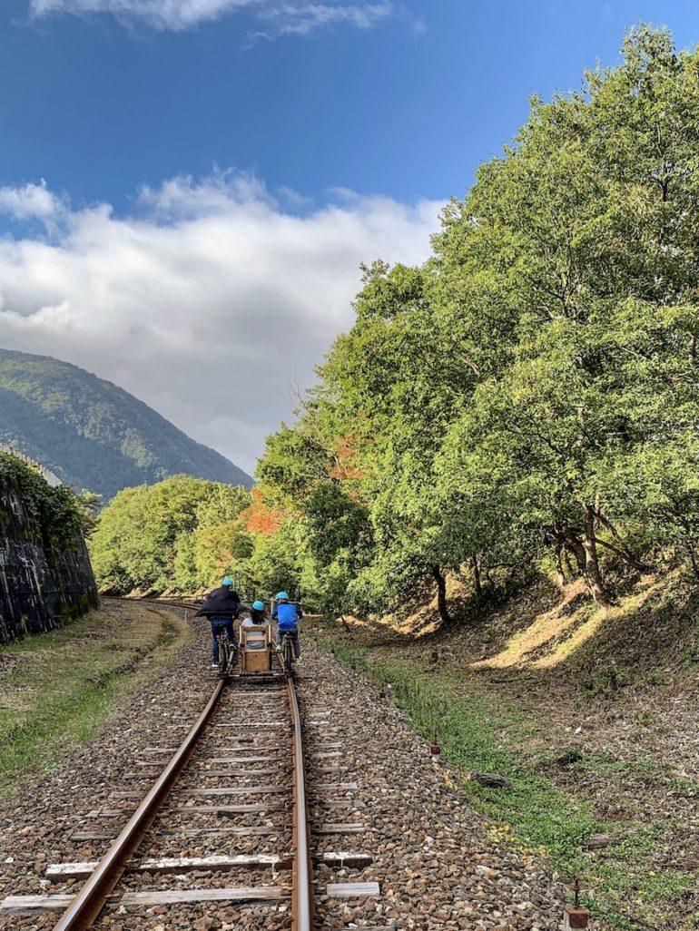 Japan Reise: Zwei menschen auf einem Schienenfahrrad neben Bäumen