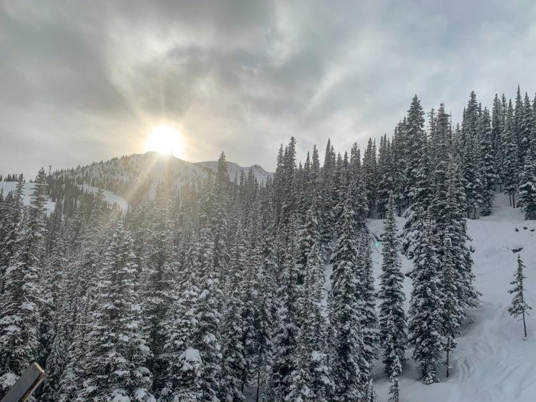 Alberta Highlights: Sonnenuntergang über verschneitem Wald.