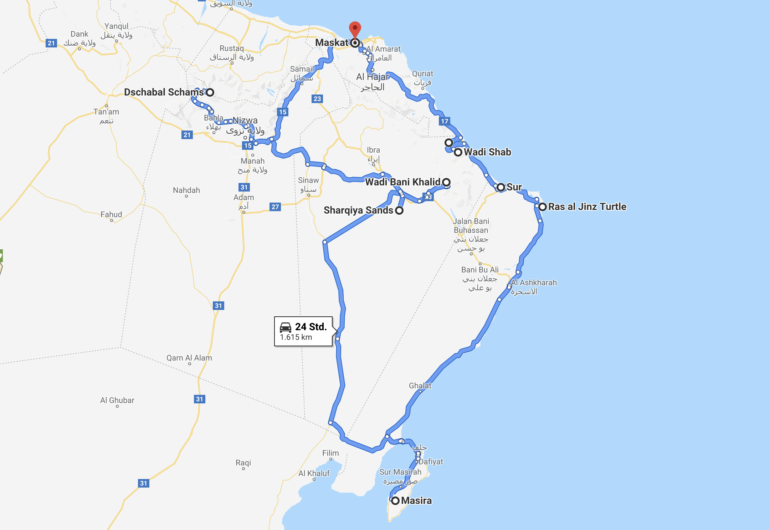 Oman Road Trip Route