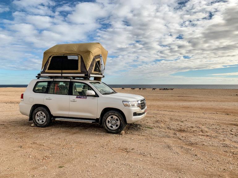 Geländewagen auf einer Klippe bei einem Oman Roadtrip